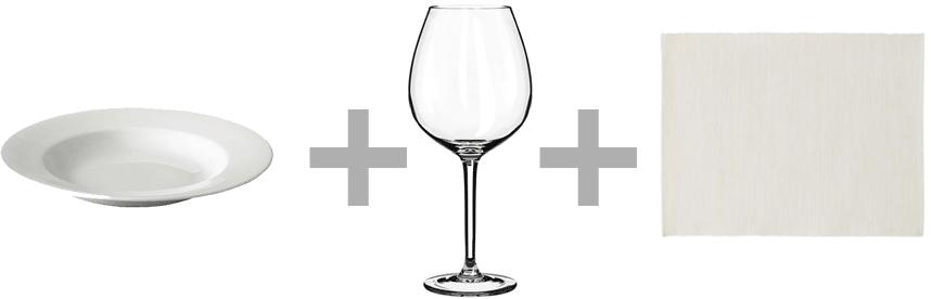 Plato hondo 365+, copa vino tinto Hederlig y mantel individual Märit de Ikea.
